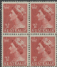 AUS SG263 3½d Queen Elizabeth II brown-red definitive with wmk block of 4